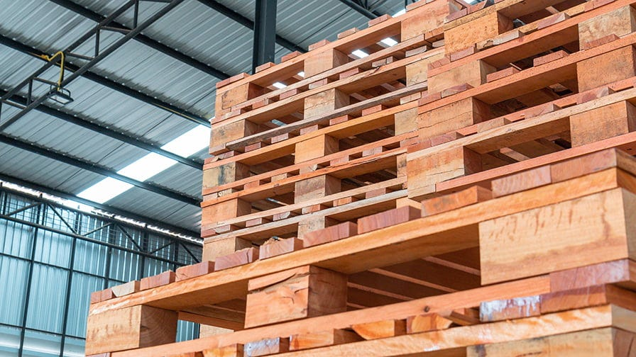 Pallets made from eucalyptus timber.