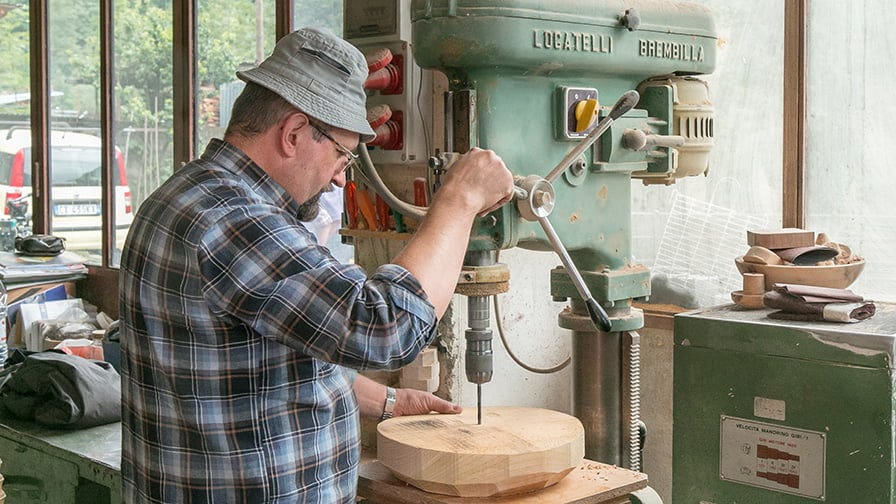 Sandro Peretti makes a wooden platter