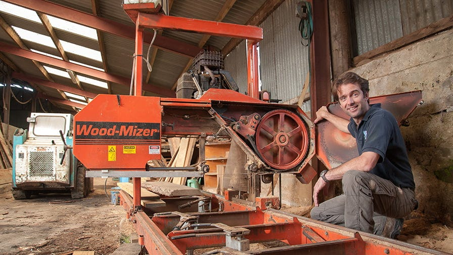 The first sawmill at the farm was the Wood-Mizer LT15