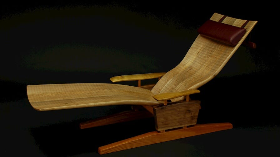 Custom made wooden lay-down chair